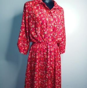 Red Floral Vintage-Style Dress - XL